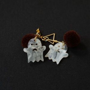 DaJazzy Boo Cute Ghost Halloween 18K Drop Earrings